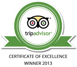 Writershill is the 2013 Winner of Tripadvisor Certificate of Excellence